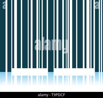 Bar Code Icon. Shadow Reflection Design. Vector Illustration. - Stock Image