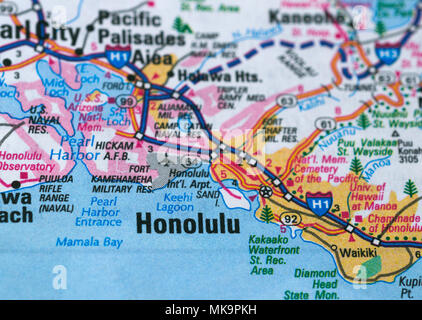 Honolulu city map - Stock Image