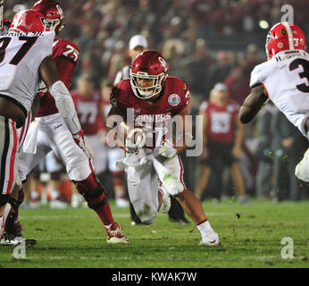 Pasadena, California, USA. 01st Jan, 2018. Oklahoma Sooners running back Rodney Anderson #24 during the 2018 Rose - Stock Image