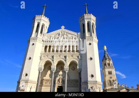 Basilica of Notre-Dame de Fourviere, Lyon, France - Stock Image