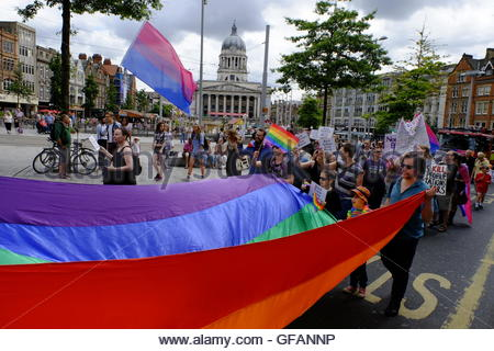 Nottingham, UK. 30th July, 2016. Nottingham Pride parade. Council House LGBT (lesbian, gay, bisexual, transgender) - Stock Image