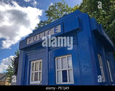 Blue police call box, Tardis, Glasgow,Scotland, UK - Stock Image