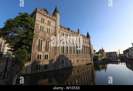Geeraard the Devil is a 13th century gothic architecture building in Ghent, Belgium - Stock Image