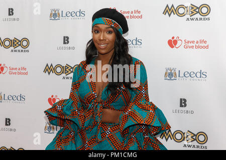 British songwriter and singer Camille Purcell, a.k.a. Kamille, on the red carpet at the 2017 MOBO Awards. Kamille is best known as a writer of UK pop hits in the 2010s and also released her own debut EP in 2017. - Stock Image