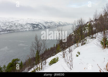 View of the narrow fjord, Langfjorden, south of Kirkenes, seen from a viewpoint beside Rigsvej 885. - Stock Image