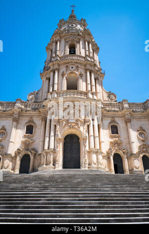 Front elevation and tower of of Baroque style Cathedral of San Giorgio in Modica Alta ancient city, South East Sicily - Stock Image