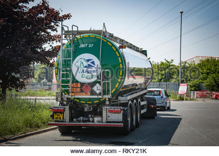 Tanker lorry carrying biodiesel leaving manufacturing plant in Ellesmere Port, North Cheshire. - Stock Image