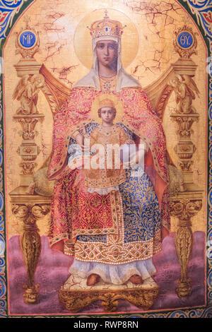 Holy Virgin icon, 19th century, icon, Palekh, Ivanovo region, Russia - Stock Image