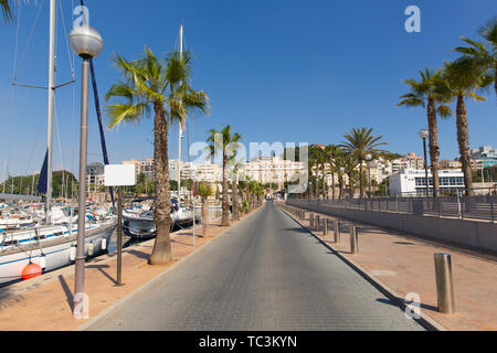 Cartagena Spain view towards the town from a pier in the harbour with palm trees - Stock Image