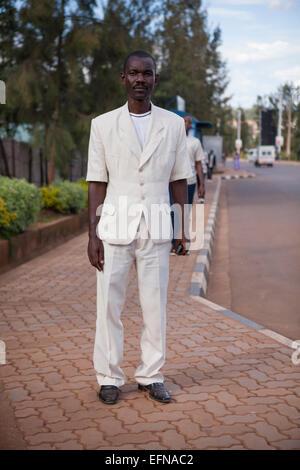 Man wearing short sleeve suit, Kigali, Rwanda - Stock Image