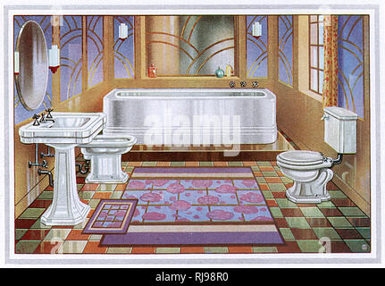 The 'Neo-Classic' bathroom suite including bidet and loo - Stock Image