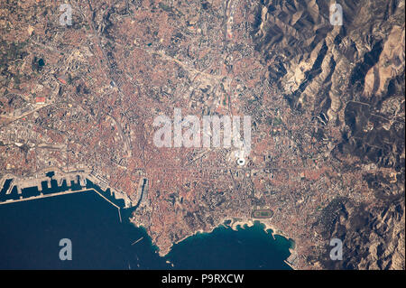 NASA satellite image of Marseilles city and port, France, 19 February, 2017 - Stock Image