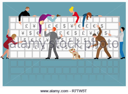 Lots of people pointing to different currency symbols on large computer keyboard - Stock Image