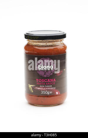 Biona Toscana Pasta Sauce on a white background. - Stock Image