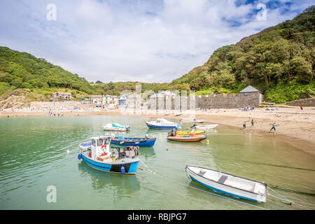 Polkerris beach and harbour in Cornwall - Stock Image