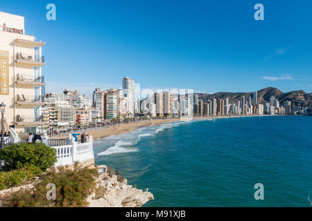 A view of Levante Beach, Benidorm, Spain. - Stock Image