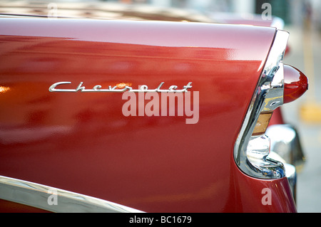 Detail of classic American car. CHEVROLET. A cultural icon for modern day Cuba. Havana, Cuba - Stock Image