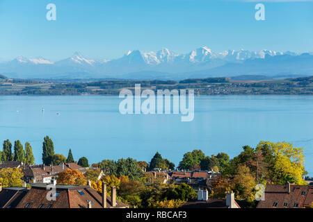 Neuchatel with Lac de Neuchatel and Bernese Alps, Neuchatel, Switzerland - Stock Image