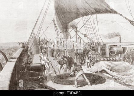 Preparing for the final attempt to grapple the lost Atlantic telegraph cable on board The Great Eastern.  From The Illustrated London News, published 1865. - Stock Image