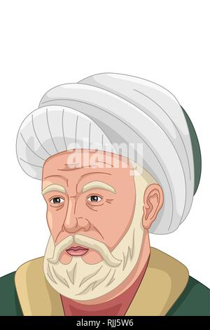 A vector illustration of Al-Farabi Muslim Philosopher - Stock Image