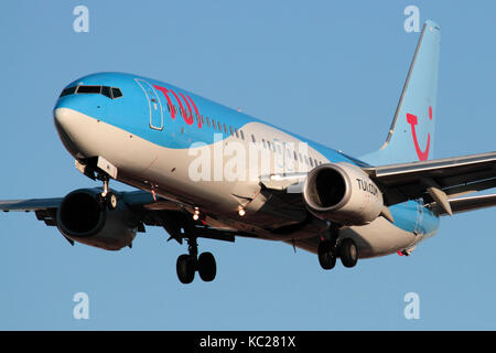 Modern air travel. TUI Airlines (formerly Thomson Airways) Boeing 737-800 airliner on approach. Closeup front view. - Stock Image
