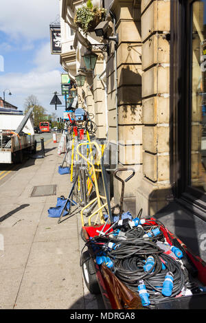 TV/movie lighting equipment outside the Old White Lion pub, Bolton Street, Bury,  in preparation for the filming of 'Bancroft', the ITV drama serial. - Stock Image