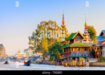 View of a village on the Inle lake - Stock Image