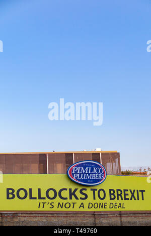 Pimlico Plumbers anti Brexit sign outside their headquarters - Stock Image