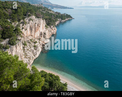 Scenics landscape of beach Nugal on Makarska riviera in Croatia - Stock Image