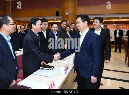 (190218) -- BEIJING, Feb. 18, 2019 (Xinhua) -- Chinese Vice Premier Han Zheng, also a member of the Standing Committee of the Political Bureau of the Communist Party of China Central Committee, inspects the State Taxation Administration in Beijing, capital of China, Feb. 18, 2019. (Xinhua/Xie Huanchi) - Stock Image
