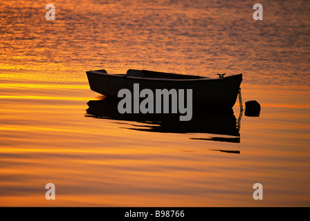 Dinghy moored in sunrise - Stock Image
