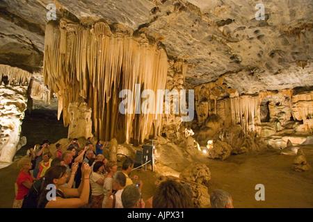 south africa Karoo near Oudtshorn stalactite cave illuminated - Stock Image