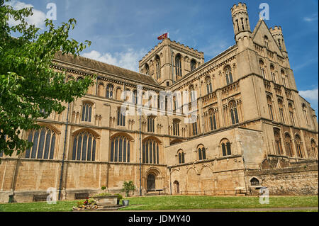 Peterborough Cathedral against a blue sky - Stock Image