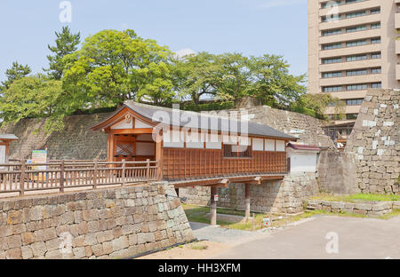 Reconstructed Rokabashi covered bridge of Fukui castle in Fukui, Japan. Castle was founded in 1601 by Yuki Hideyasu - Stock Image