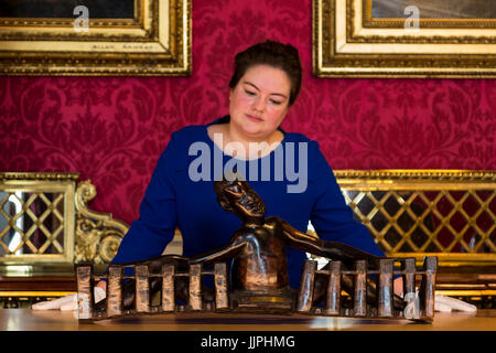 *** EMBARGOED to 00:01 BST, FRIDAY, 21 JULY 2017 *** Pictured: Carving of a drummer, ebony, from Presdent Benjamin - Stock Image