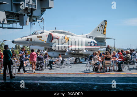 Cafe inside the USS Midway Museum. - Stock Image