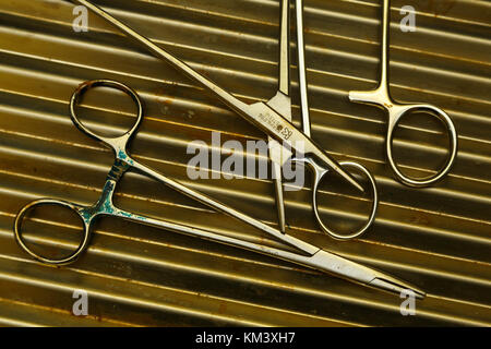 Surgical instruments lie on a table in a village clinic, Papua New Guinea - Stock Image