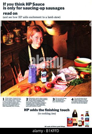 1960s 1965 Magazine Advertisement for HP Foods and Sauces FOR EDITORIAL USE ONLY - Stock Image