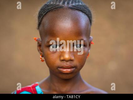 Portrait of a Peul tribe girl, Savanes district, Boundiali, Ivory Coast - Stock Image