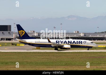 Ryanair Boeing 737 Next Gen at Milan - Malpensa (MXP / LIMC) Italy - Stock Image