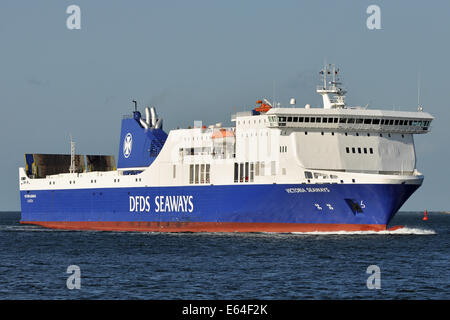 RoPax-Ferry Victoria Seaways with new scrubber - Stock Image