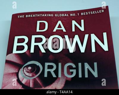 Cover of Dan Brown bestseller Origin - Stock Image