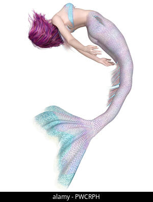 Pretty Pink and Blue Mermaid Swimming Upside Down - Stock Image