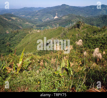 Sabah, East Malaysia, deforested hills now used for agriculture - Stock Image