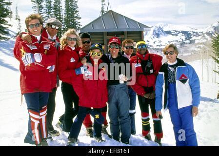 LESLIE JORDAN, T.K. CARTER, PAUL FEIG, ROGER ROSE, SKI PATROL, 1990 - Stock Image