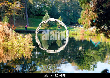 Lake sculpture in Alexandra Park, Hastings, East Sussex, UK - Stock Image