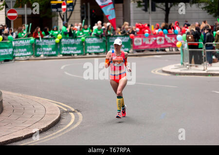Ausra Garunksnyte (LTU), competing in the World Para Athletic Championships, part of the 20219 London Marathon. Ausra went on to finish 4th in  the T11/12 Category, in  a time of 03:18:23 - Stock Image