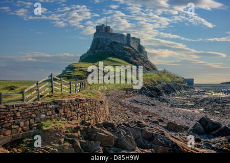 Lindisfarne castle, Holy Island, Northumberland, England, UK - Stock Image