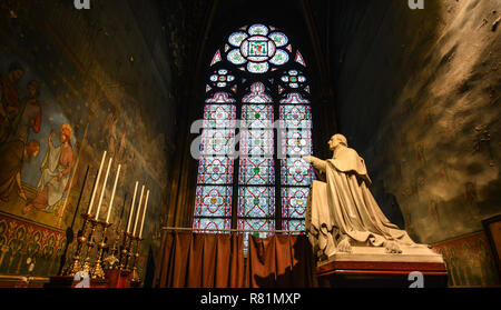 Paris, France - Oct 2, 2018. Interior of Notre-Dame de Paris. Cathedral is one of the finest examples of French Gothic architecture. - Stock Image