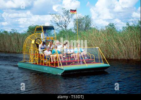 Everglades Florida Miccosukee Indian airboat tour Tamiami Trail - Stock Image